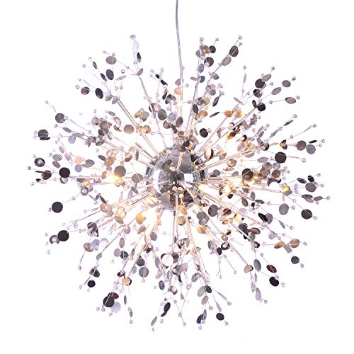 GDNS 12 Pcs Lights Chandeliers Firework LED Light Stainless Steel Crystal Pendant Lighting Ceiling Light Fixtures Chandeliers Lighting,Dia 23.5 inch