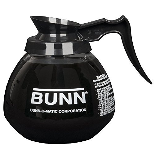 BUNN Coffee Pot Decanter/Carafe Regular Plus 1 Orange Decaf, 12 Cup Capacity, Black, Set of 2