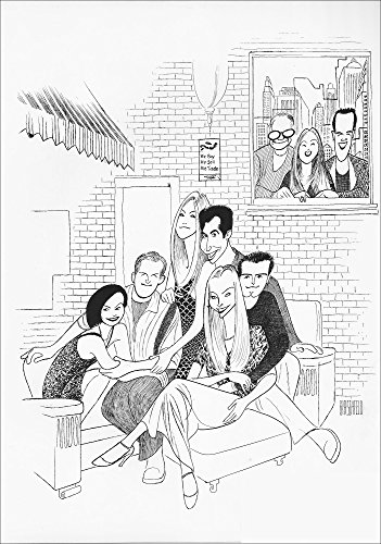 FRIENDS, Hand Signed by AL HIRSCHFELD, Limited Edition Lithograph, Courteney Cox, Matthew Perry, Jennifer Aniston, David Schwimmer, Matt Le Blanc, Lisa Kudrow, Kevin S. Bright, Marta Kauffman, and David Crane