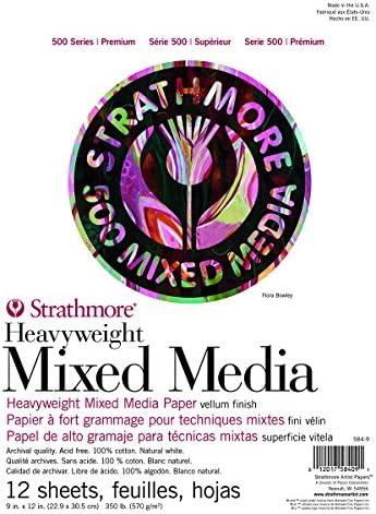 Strathmore (584-9 500シリーズ ヘビーウェイトミックスメディア、9インチx12インチ、12枚