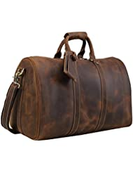 Polare Mens 18 Retro Real Leather Weekender Duffel Overnight Bag Carry On Luggage