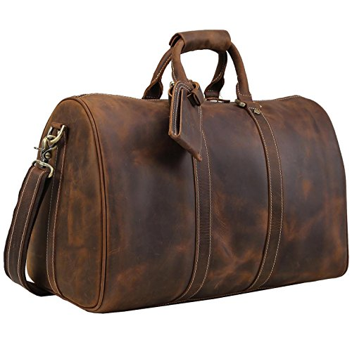 18' Bag (Polare Men's 18'' Retro Real Leather Weekender Duffel Overnight Bag Carry On Luggage)