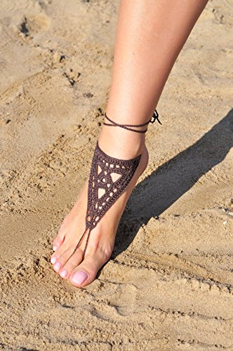 Brown Crochet Barefoot Sandals Foot Jewelry Handmade Beach Wedding Shoes Nude Shoes Sexy Yoga Shoes Lace Crocheted Shoes Summer Shoes
