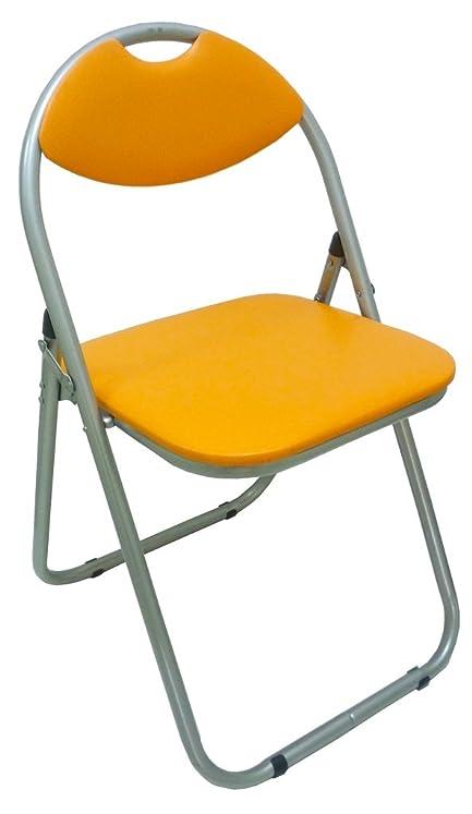 Sedia Poltrona Pieghevole Arancione in Metallo Imbottita per ...