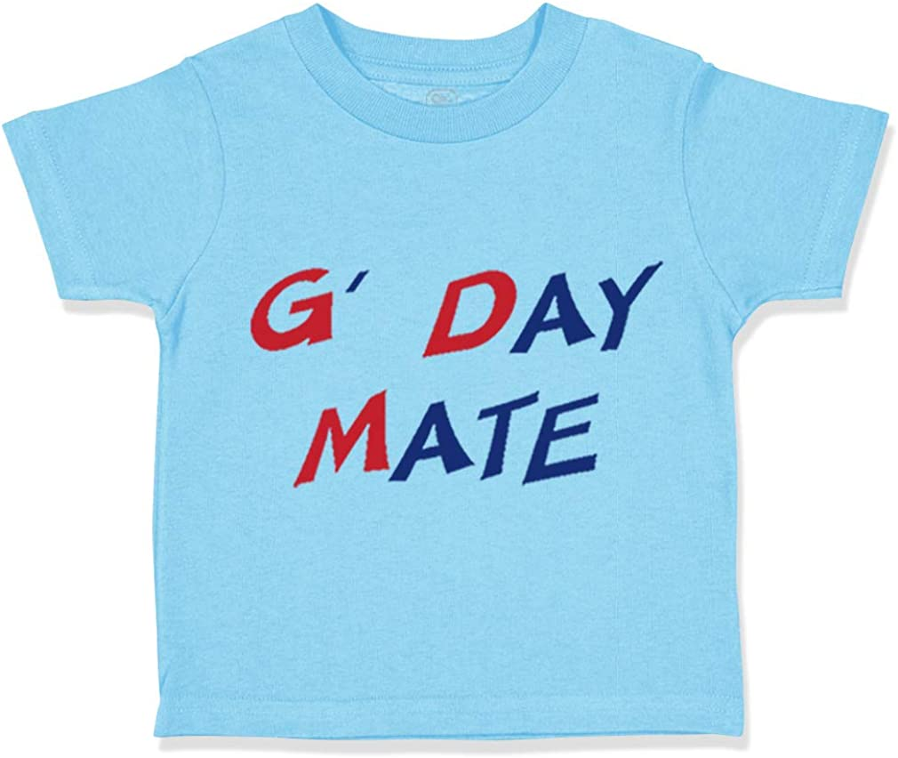 Custom Toddler T-Shirt Blue and Red Text G Day Mate Funny Humor Cotton