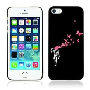 Designer Depo Hard Protection Case for Apple iPhone 5 5S / Banksy Graphiti Art Girl