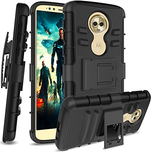 Moto G6 Play/Moto G6 Forge Case with HD Screen Protector,AnoKe Belt-Clip Holster Kickstand Hard PC Back Cover + Soft TPU Dual Layer Protection Defender Rugged Shockproof for Moto G6 Play HT Black