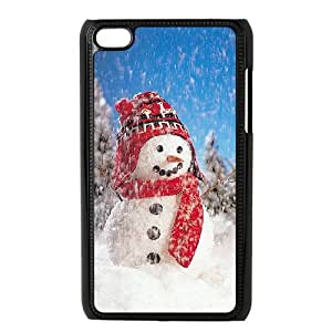 Ipod Touch 4 2D Custom Phone Back Case with Cute snowman Image