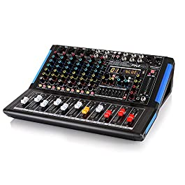 8-Channel Bluetooth Studio Audio Mixer – DJ Sound Controller Interface w/ USB Drive for PC Recording Input, XLR…