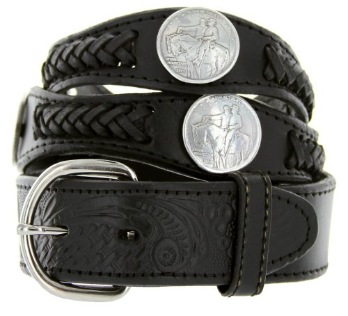 (Stone Mountain Memorial Coin Conchos Western Scallop Embossed Leather belt (46, Black) )
