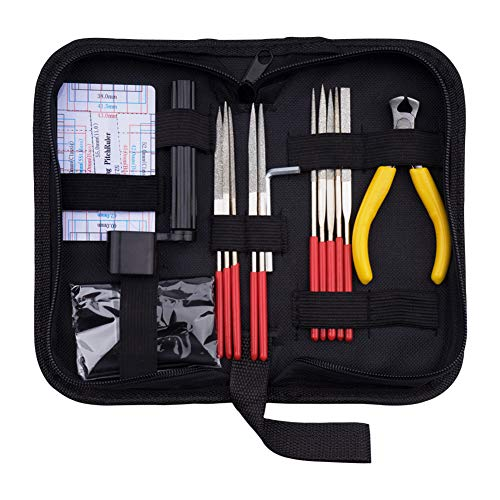 URlighting Guitar Repair Kit - Guitar Maintenance Fix Care Tools Set Includes Frets Nut File & String Winder & String Cutter & Hex Wrench & String Action Ruler for Guitar Ukulele Bass