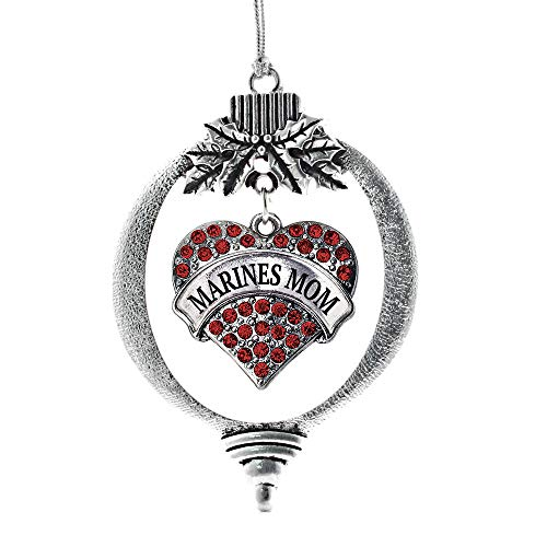 Inspired Silver - Marines Mom Charm Ornament - Silver Pave Heart Charm Holiday Ornaments with Cubic Zirconia Jewelry