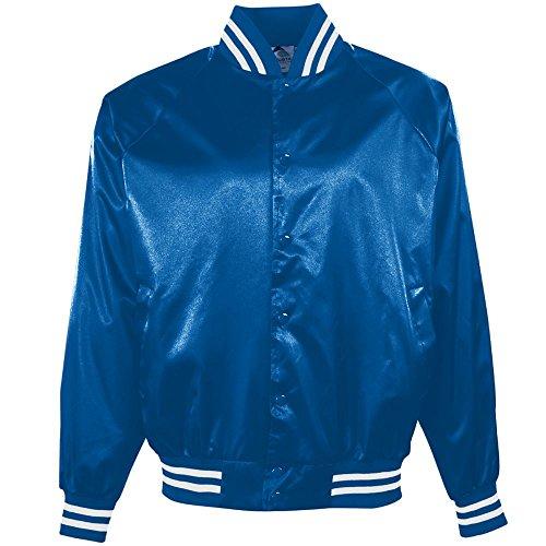 Augusta Sportswear Augusta Satin Baseball Jacket/Striped Trim, Royal/White, Large