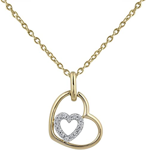 Amazon Com Double Heart Love Necklace For Girls In 925 Sterling
