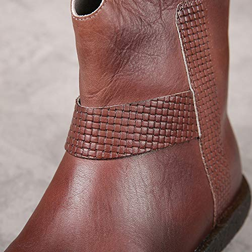 Negro Marrón Botas Zhrui Zapatos Color Hechas Vintage Eu Mano Con wqg71