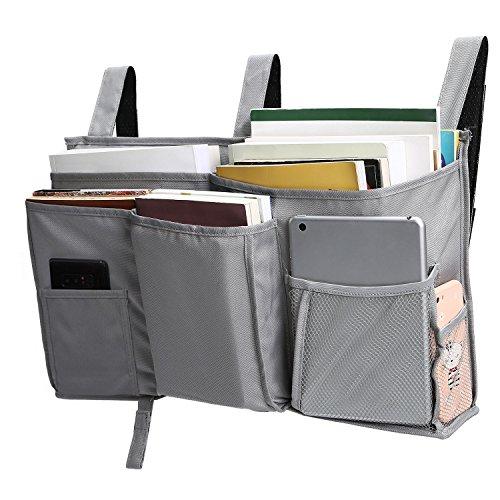 Corodo Grey Bedside Storage Caddy Hanging Organizer Bag with 8 Pockets for Bunk Beds, Hospital Beds, Dorm Rooms Bed Rails