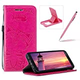 Strap Leather Case for Samsung Galaxy A8 2018,Hot Pink Wallet Flip Case for Samsung Galaxy A8 2018,Herzzer Elegant Classic Solid Color Magnetic Closure Cute Fish Cat Printed Stand Shockproof Card Slots Folio PU Leather Back Case with Soft Silicone