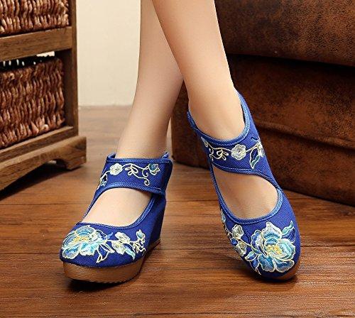DESY Gestickte Schuhe, Leinen, Sehnensohle, ethnischer Stil, erhöhte weibliche Schuhe, Mode, bequem, lässig , black , 41