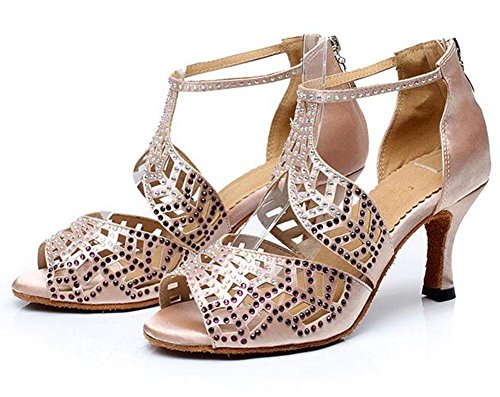 KUKI Zapatos de baile latino Zapatos de suela adulta de tacón alto para adultos Zapatos de baile de salón de baile de diamantes 2