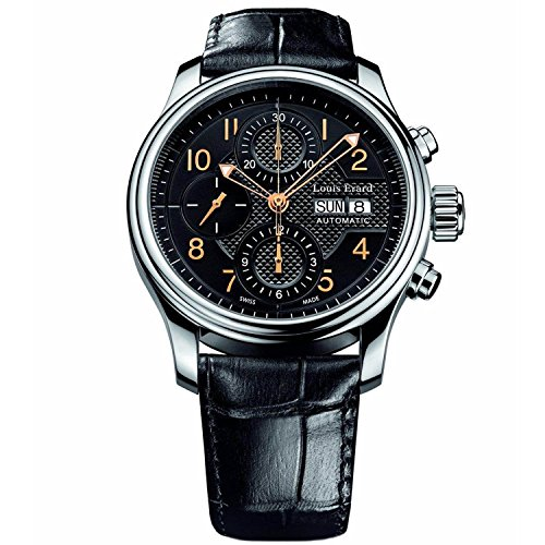 Louis Erard Mens 78269Aa02 Bdc02 Heritage Automatic Black Leather Chronograph Date Watch