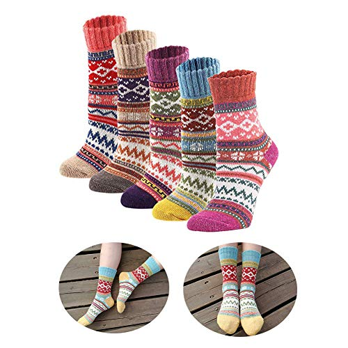 Knit Wool Acrylic (5Pack Womens Vintage Winter Soft Warm Thick Cold Knit Wool Crew Socks, Multicolor, Standard size)