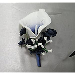 Navy Ivory Calla Lily Corsage or Boutonniere 65