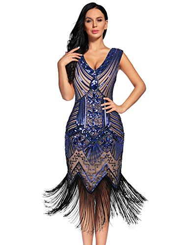 - NeeMee Women's 1920s Gastby Sequin Embellished Fringed Flapper Dress (Bluebeige,XL)