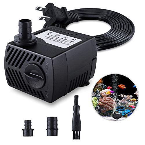 Fountain Pump, 80GPH(4W 300L/H) Submersible Water Pump, Durable Outdoor Fountain Water Pump with 7.2ft(2.2m) Power Cord, 3 Nozzles for Aquarium, Pond, Fish Tank, Water Pump Hydroponics, Fountain from CWKJ