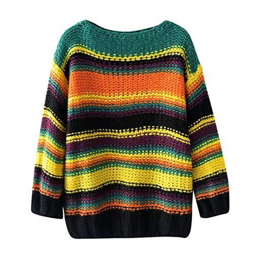Chandail en Mode t Femmes des Shirt Manches Chandail Bellelove de l'automne ray 2018 de Dames dcontracte Chemise Tricot Longues Multicolore Vert Vrac 7BRqUvg