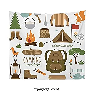 Durable Washable and Reusable Tapestry Wall Hanging Carpet 59x51in,Camping Equipment Sleeping Bag Boots Campfire Shovel Hatchet Log Artwork Print,Multicolor Comfy and No Strange Odor Home Decor