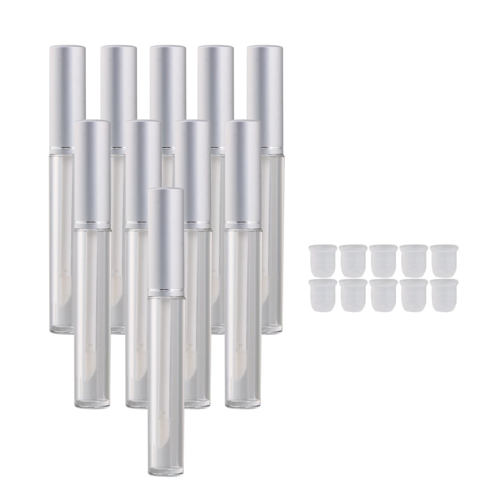 BQLZR Silver 3.5ml Empty Clear Lip Gloss Tube Lip Balm Bottle Makeup Container Pack of 10 M4170529029