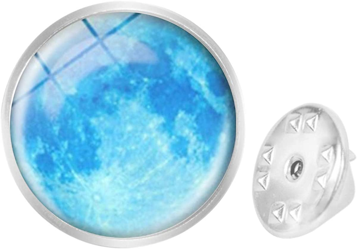 WAZZIT Round Metal Tie Tack Hat Lapel Pin Brooches Galaxy Nebula Blue Blue Moon Banquet Badge Enamel Pins Trendy Accessory Jacket T-Shirt
