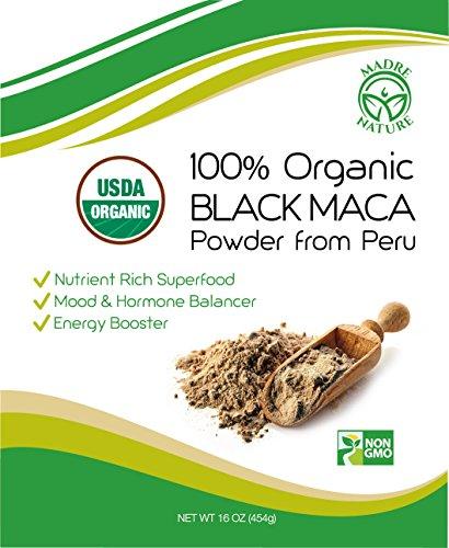 Madre Nature - 100% Peruvian Organic Gelatinized Black Maca Powder - (1LB) - non-GMO - Vegan - Gluten Free (16oz)
