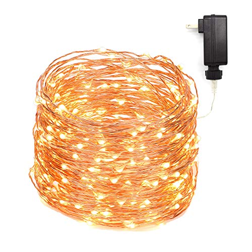 LED String Lights 99ft 300 LEDs Fairy String Lights for Bedroom, Patio, Indoor/Outdoor Waterproof Copper Lights for Birthday, Wedding, Party Starry lights UL Listed Warm White (99ft ac plug) by Zaecany