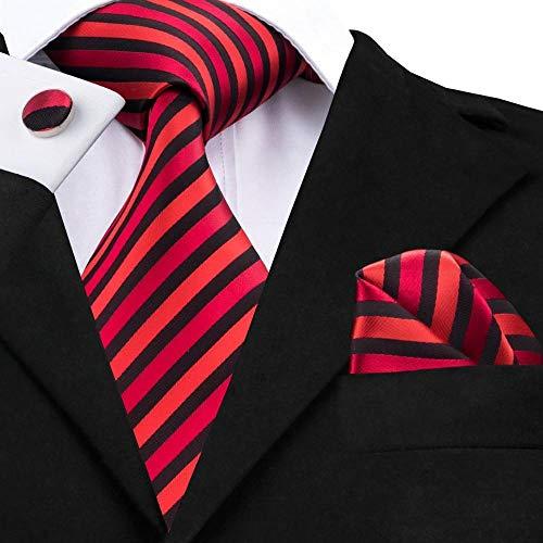 (Black Stripe Necktie Hanky Cufflinks Fashionable Mens)