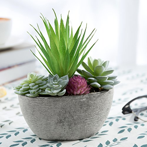 MyGift Miniature Faux Succulent Arrangment in Cement-Gray Pulp Planter by MyGift