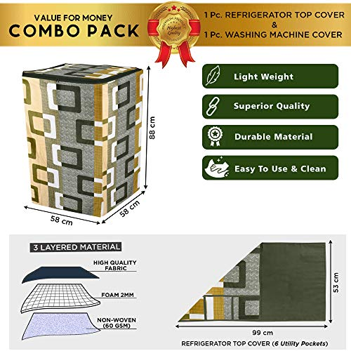E-Retailer® Combo Set of Top Load Washing Machine Cover and Fridge Top Cover with 6 Pockets (Green, Set of 2 Pcs) 51dRkha5VmL India 2021