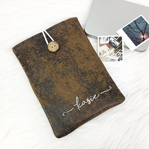 premium selection 4c26c 83684 Amazon.com: Personalised/Monogram Brown Faux Suede Leather Laptop ...