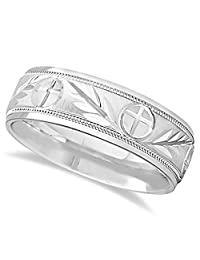 Comfort Fit Carved Cross and Leaf Ring Wedding Band For Men in Palladium (7mm)