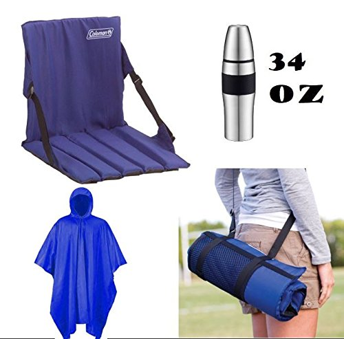 Seat Cushion Stadium with Back Bundle - Includes (1) Stadium Seat with Liquid Holder (1) Reusable Rain Coat Poncho and (1) Stainless Steel Double Wall Sports (Insulated Stadium Jacket)