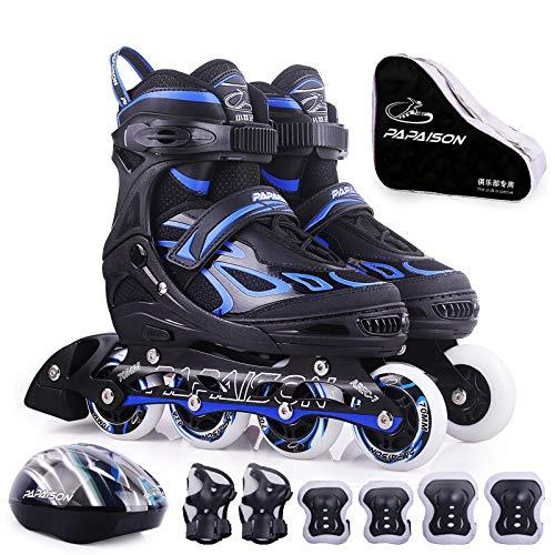 YANG 子供のための調節可能なインラインスケート、初心者のための調節可能なローラースケートボタン、男の子、青+保護用具のヘルメット+バッグ (Size : L(EU 38 - EU 41))  L(EU 38 - EU 41)
