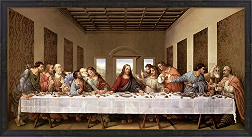 The Last Supper by Leonardo Da Vinci Framed Art Print Wall Picture, Espresso Brown Frame with Hanging Cleat, 42 x 23 inches (Supper Picture Last)
