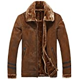 Allonly Men's Vintage Sheepskin Jacket Fur Leather Jacket Cashmere Shearling Coat, Bronze, US Large (Tag XL)