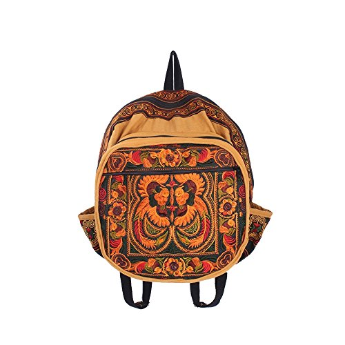 ETHNIC LANNA Oragne Birds Hmong Embroidered Backpack Handmade in Thailand Tribal Boho Bags