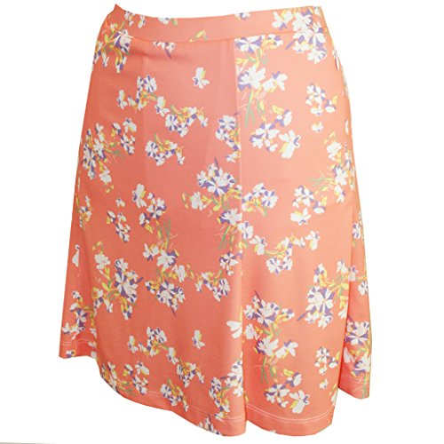 (Monterey Club Ladies Dry Swing Blossom Print Fun Pull-on Skort #2916 (Peach Pink/Royal Lilac, Medium))