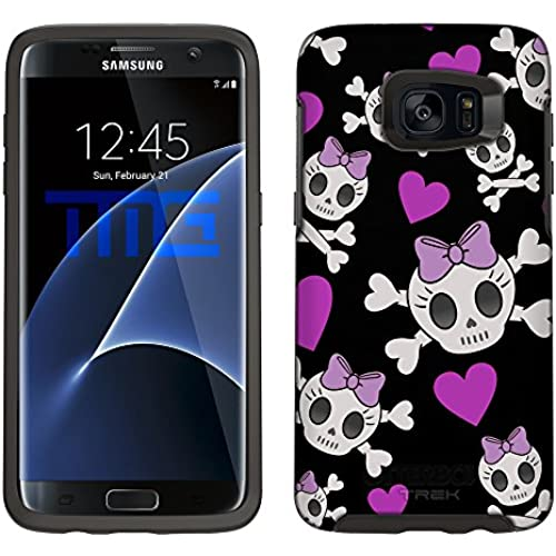 Skin Decal for Otterbox Symmetry Samsung Galaxy S7 Edge Case - Cutie Skulls Purple on Black Sales