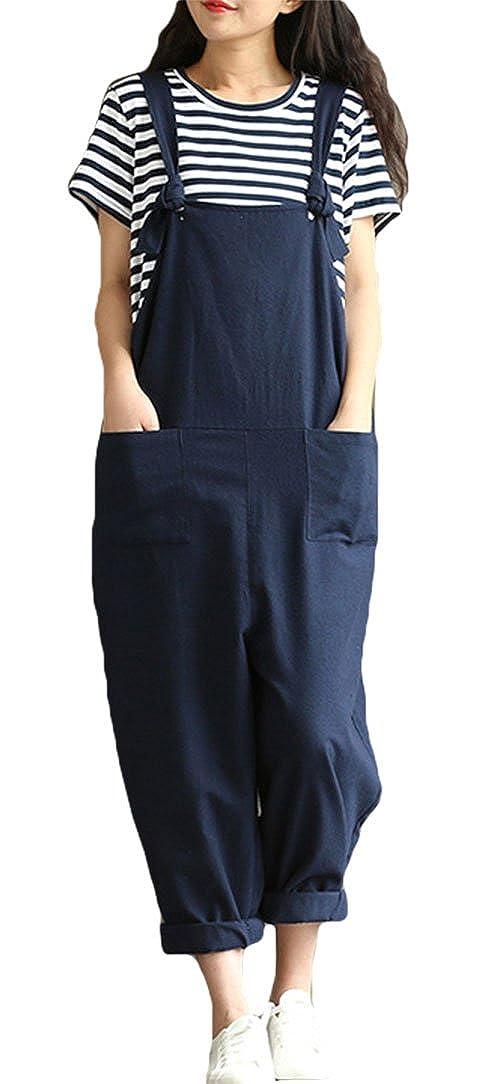 adff84cf85 Amazon.com  ezShe Women s Linen Loose Bib Overalls Baggy Casual Jumpsuits   Clothing