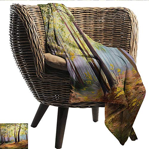 EwaskyOnline Country Knee Blanket Image of Spring Landscape in Forest with Falling Leaf and Various Trees Mod Print Camping Throw,Office wrap 80