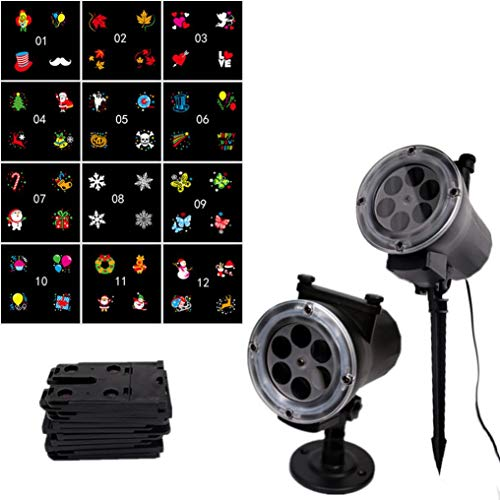 WARMSHOP Multicolor LED Projector Light with 12 Different Pattern Landscape for Halloween Xmas Outdoor Indoor Room,Garden, Patio, Parties Projection Lamp with Remote Control (Multicolor, B- UK spec)