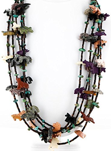 - Carved Fetish $500 Large Certified Authentic 5 Strand Navajo .925 Sterling Silver Turquoise Native American Necklace